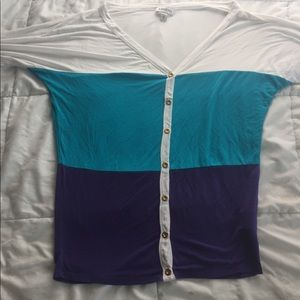 BEBE blouse colorblock button down xs